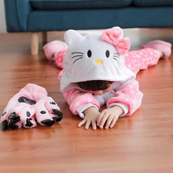 Children Unisex Kitty Cosplay Costumes Flannel Hooded Pink All In One Pajamas Carnaval Halloween Costume