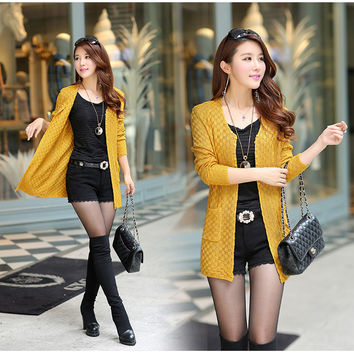 Women Long Cardigan  Long Sleeve Thin Knitted Cardigan