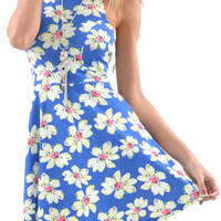 Blue Floral Print Sleeveless Mini Dress