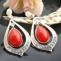 Elegant Style Rhinestone Decorated Earrings Red, Buy Elegant Style Rhinestone Decorated Earrings Red with cheapest price|wholesale-dress.net