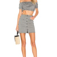 by the way. Judith Button Skirt Set in Black & White | REVOLVE