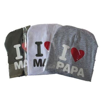 DCCKL3Z Baby I love Mom And Dad Caps Infant Cotton Children Hats Beanies Cap for Toddler Boys Girls