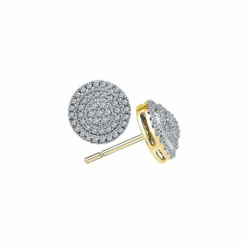 10kt Yellow Gold Women's Round Diamond Concentric Circle Frame Cluster Earrings 1-2 Cttw - FREE Shipping (USA/CAN)