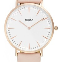 CLUSE 'La Bohème' Leather Strap Watch, 38mm | Nordstrom