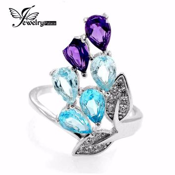 2.26ct Amethyst Sky Blue Topaz Ring Pear Cut Gemstone Ring Set 925 Solid Sterling Silver 2016 Brand New Gift