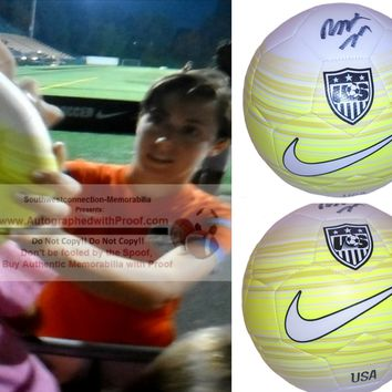 Meghan Klingenberg Autographed Yellow United States Logo Soccer Ball, Portland Thorns, Proof Photo