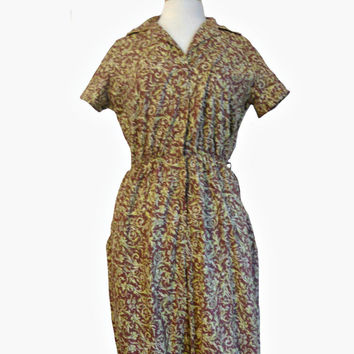 Vintage Jumpsuit Romper 1970s Paisley Style Print Short Sleeve Fruit of the Loom Loungewear Rust Brown and Chartreuse Colors and Gold Trim
