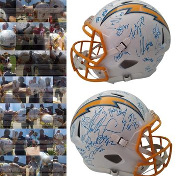 2019 Los Angeles Chargers Team Autographed Riddell Full Size Football Helmet, Proof Photos