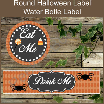Eat, Drink DIY Printable Round Halloween Stickers for Candy Bar and Cupcake Toppers and Water Bottle Label