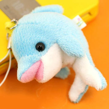 Dimple Soft and Downy Marine Animal Plush Doll Cell Phone Strap (Dolphin / Blue)