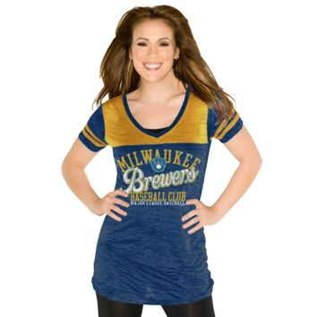 Touch by Alyssa Milano Milwaukee Brewers Ladies Coop Premium T-Shirt - Navy Blue