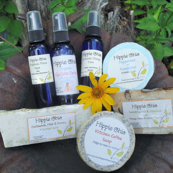 """7 piece """"Hippie Chic"""" Organic Sprays and Soaps with a rustic burlap gift bag."""