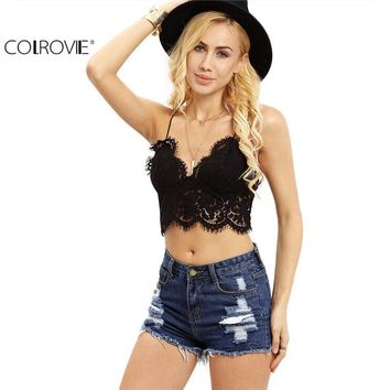 COLROVIE Lace Insert Sexy  Summer Style Women Crop Tops Hollow Sleeveless Black Crochet Overall Slip Lingerie