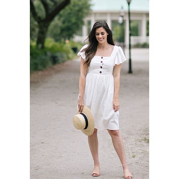 Makenna Off White Ruffle Sleeve Midi Dress