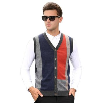 2016 Men's Casual Knit Clothing Autumn and Winter Male V-neck Argyle Pattern Wool Contrast Color Sweater Waistcoat Cardigans