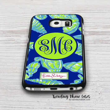 Lilly Pulitzer Green Shell a Little Tipsy Monogram Samsung Galaxy S6 Case Cover for S6 Edge S5 S4 Case