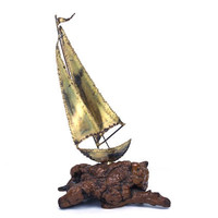 vintage 80s brutalist brass sailboat sculpture burlwood base copper metal sail boat collectible home decor decorative nautical boating beach