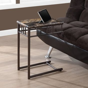 Bronze Metal and Cappuccino Marble Snack/End Table