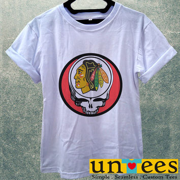 Low Price Women's Adult T-Shirt - Chicago Blackhawks Grateful Dead design