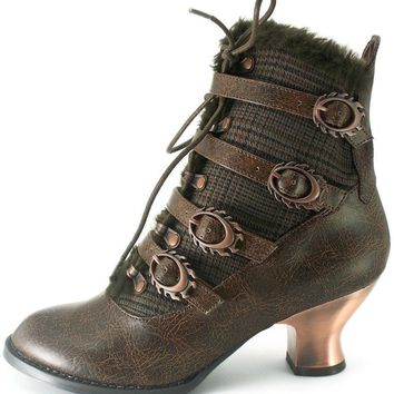 Hades Shoes H-Nephele Victorian ankle boots with inner tuxedo fabric