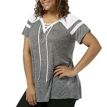 LANGSTAR Women Plus Size Lace Up T-Shirt Raglan Short Sleeve V-Neck Female Casual Tees Tops Women Basic Tops Large Size XL-5XL