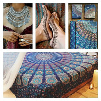 Blue Tapestry Mandala Throw Bedspread / Wall Hanging