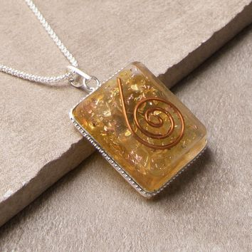 Yellow Onyx Orgone Necklace - 24 inch Silver Chain