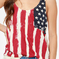 American Flag Ruche Back Tank Top