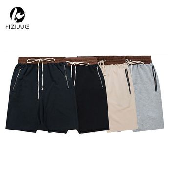 HZIJUE streetwear hip hop dance clothes stage clothing for men black/grey short mens stretch cotton  sweat jogger shorts