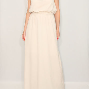Long beige dress Bridesmaid dress Chiffon maxi dress Keyhole dress