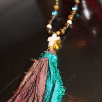 Sari Silk Ribbon Tassel on Tigereye Beaded Chain with White Druzy Cross Pendant Necklace