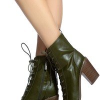 Olive Faux Leather Lace Up Chunky Booties @ Cicihot. Booties spell style, so if you want to show what you're made of, pick up a pair. Have fun experimenting with all we have to offer!