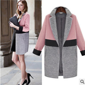 Mixed Color Women Business Casual Suit Outerwear Jacket