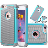 iPhone 6 plus case iPhone 6S plus Case,GOOQ Solid Shockproof Silicone + Hard Case Cover Stylish 2-layer Protection Defender Anti-scratch Anti-slip Hard Case Cover for iPhone 6S plus(Gray/Turquoise)