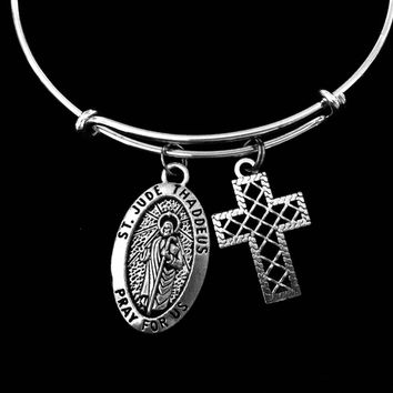 Saint Jude Thaddaeus Jewelry Patron Saint of Hopeless Adjustable Bracelet Silver Expandable Charm Bangle Filigree Cross One Size Fits All