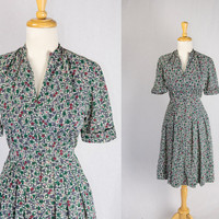 Vintage 1950s Atomic Dress Sketched Squares Shirtwaist Mid Century House Day Dress