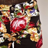 Tripp Nyc Rose Embroidery Printed High Waist Shorts