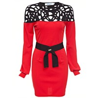 Chic Round Collar Latern Sleeve Color Block Lace Work Bodycon Dress for Women