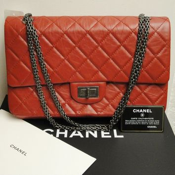 Chanel Reissue 227 Classic Red Large Double Flap Silver HW 2.55 Bag 12A - $6000