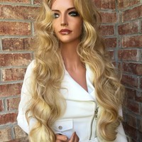 "Marta Light Blonde Highlighted 26"" Loose Wave Lace Front Wig"