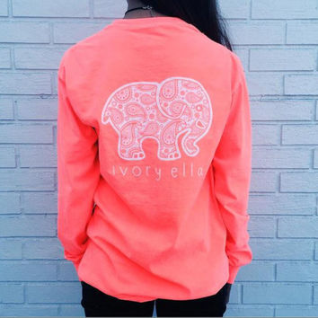 Long Sleeve Elephant and Letter Print T-Shirt