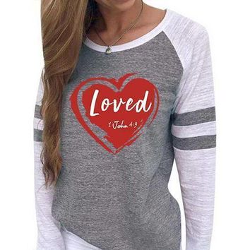 Loved Women's Baseball Jersey Christian Semi-Fitted Long Sleeve Shirt