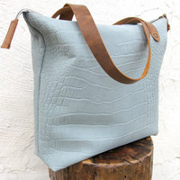 Blue Gray Gator Leather Tote Bag with Brown Mustang Oiled Leather Straps by Stacy Leigh Ready to Ship