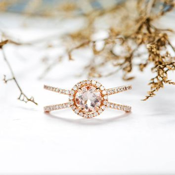 Morganite Engagement Ring Halo Diamond Split Shank Cage Eternity Wedding Ring