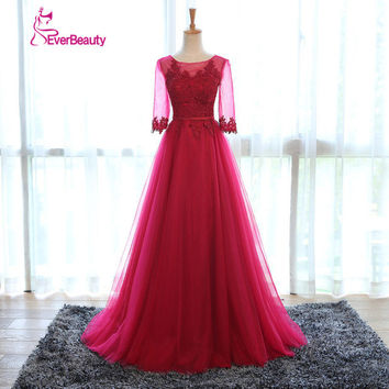 Robe De Soiree Elegant Wine Colored Evening Dress With Sleeves Appliqued Tulle Prom Dress 2016 Long Formal Dress abendkleider