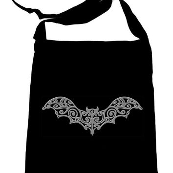 Gothic Wroght Iron Gray Vampire Bat Crossbody Sling Bag Elegant Handbag