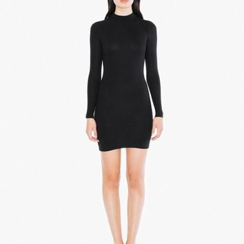2x2 Rib Long Sleeve Mock Neck Mini Dress | American Apparel