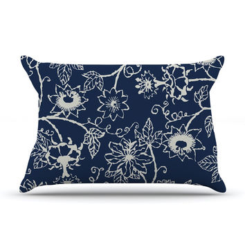 "Laura Nicholson ""Passion Flower"" Navy Floral Pillow Sham"