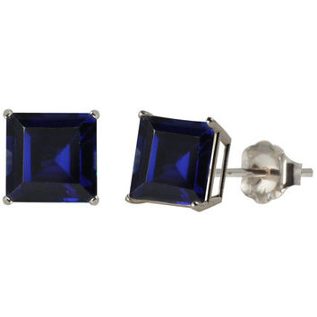 Blue Sapphire Princess Cut Stud Earrings .925 Sterling Silver Rhodium Finish