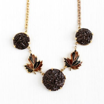 Sale - Vintage Art Deco Gold Tone Molded Flowers Glass & Enamel Leaf Necklace - 1930s Brown and Black Maple Leaves Fall Costume Jewelry